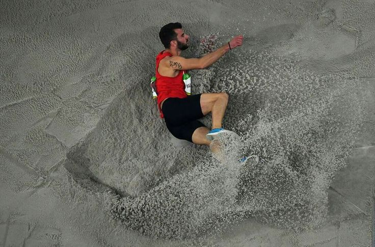 RIO DE JANEIRO, BRAZIL - AUGUST 12: Izmir Smajlaj of Albania competes in the Men's Long Jump qualification on Day 7 of the Rio 2016 Olympic Games at the Olympic Stadium on August 12, 2016 in Rio de Janeiro, Brazil. (Photo by Ian Walton/Getty Images)