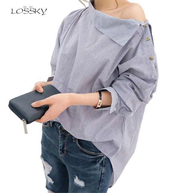 Autumn Women's Striped Sexy Oblique Strapless Loose Long-sleeved Collar Hedging Bat Sleeve Blouse Shirts Tops Size S-2XL