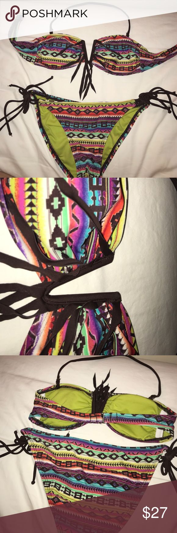Target fringe bandeau bikini top and bottoms rainbow pattern with brown fringe and ties, never worn. (has a removable strap for the bandeau top). both top and bottom are size xs in women's target Swim Bikinis
