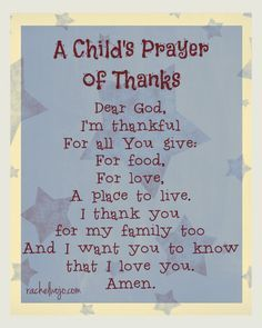 A Child's Prayer of Thanks- Click through for more prayer ideas for children!