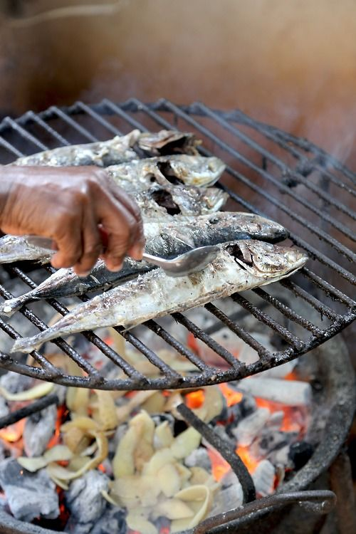 When you are living with a Mozambican family a gastronomical snap shot always lurks around the corner. This one is called a Carapau. With Hand Roasted Salt Fish by The Man with the Pan.