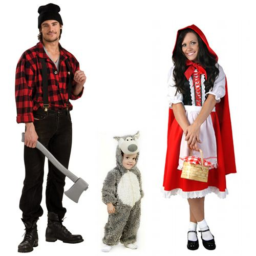 Red Riding Hood, Woodcutter, and baby Wolf family costumes