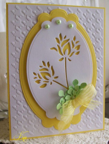 handmade greeting card ,,, Wild Blooms by kiagc ... lovely negative die space flowers ,,, layered Nesties labels die ,,, houndstooth embossing texture ,,, organdy bow ... pearls .,. white, yellow and chartreuse ... sunny and sweet ,,,