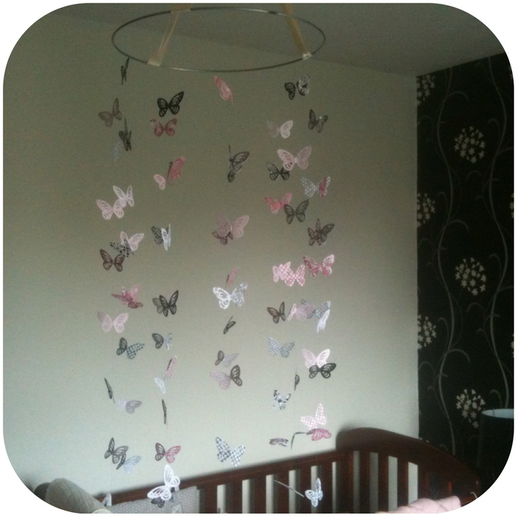 DIY butterfly mobile    I think I want to try this with a hula hoop for Josie's birthday party.