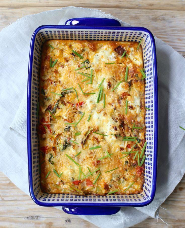 Frittata met roomkaas uit de oven | Flairathome.nl | frittata met ui, courgette, prei en paprika, maar je kunt ook kiezen voor andere groenten of een zakje voorgesneden groenten.