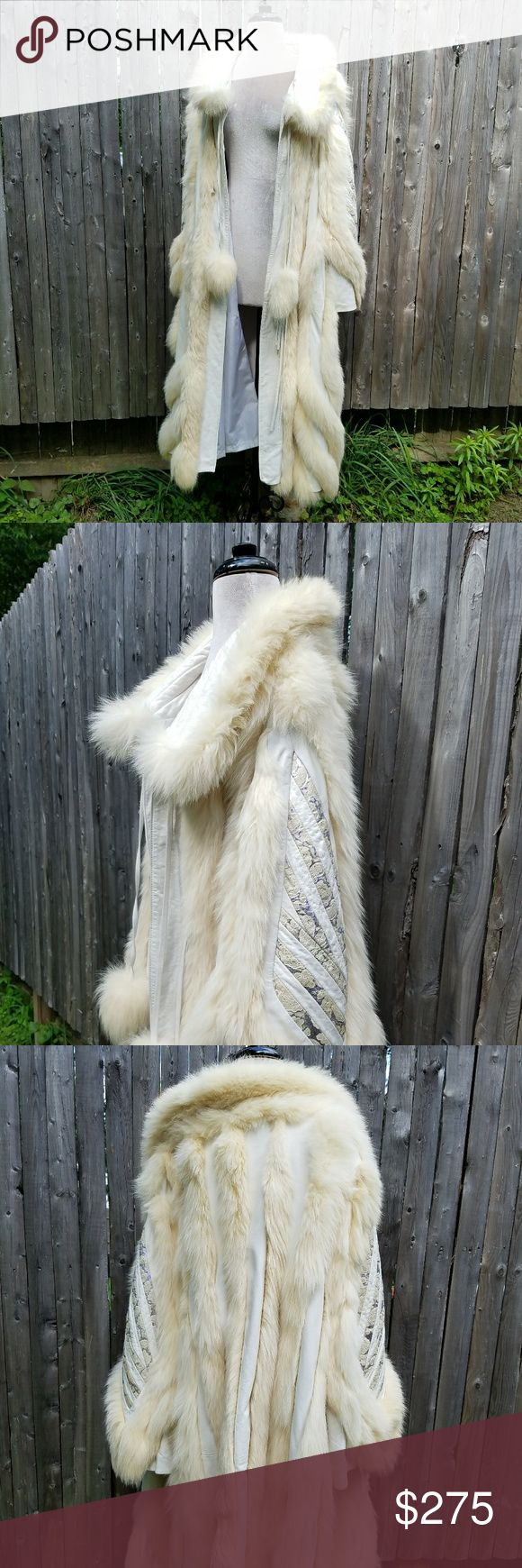 Fox Leather Vintage Maxi Wizard Magic Coat Boho Really incredible vintage, unique find! Made in Holland by Alain Dykstra for Badoux. Stunning design with purple and gold inlay brocade leather detail on the bell sleeves and sides. Tie front clasps with fur pom poms.  White leather with cream fur detail and trim. Monogrammed on the interior. Saw some staining on the lining shown in photos. Very bohemian winter princess coat! Labeled a medium but would absolutely accommodate a large or extra…