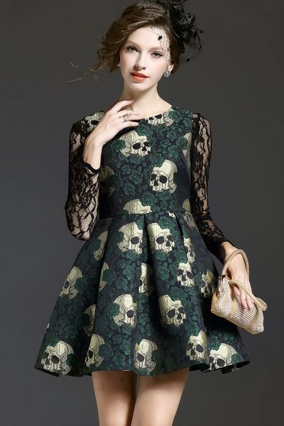 Fashion Skull Printing Lace-Paneled Dress OASAP.com