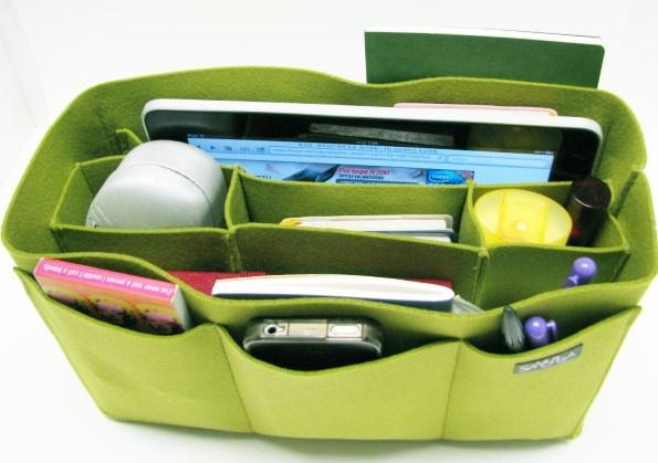 samorga / yellow green felt bag organizer / also for a school / baby bag, desk, car, etc.. $34.50