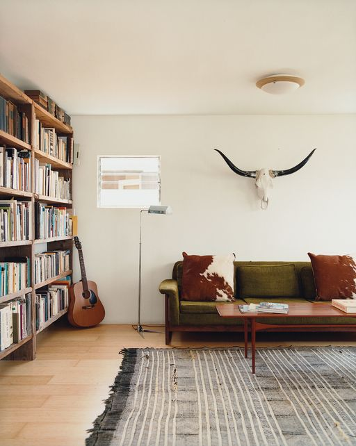 """Architect Jennifer Siegal """"built bookshelves from scrap wood, bartered for her Danish modern furniture, and haggled for a living-room rug in Morocco."""""""