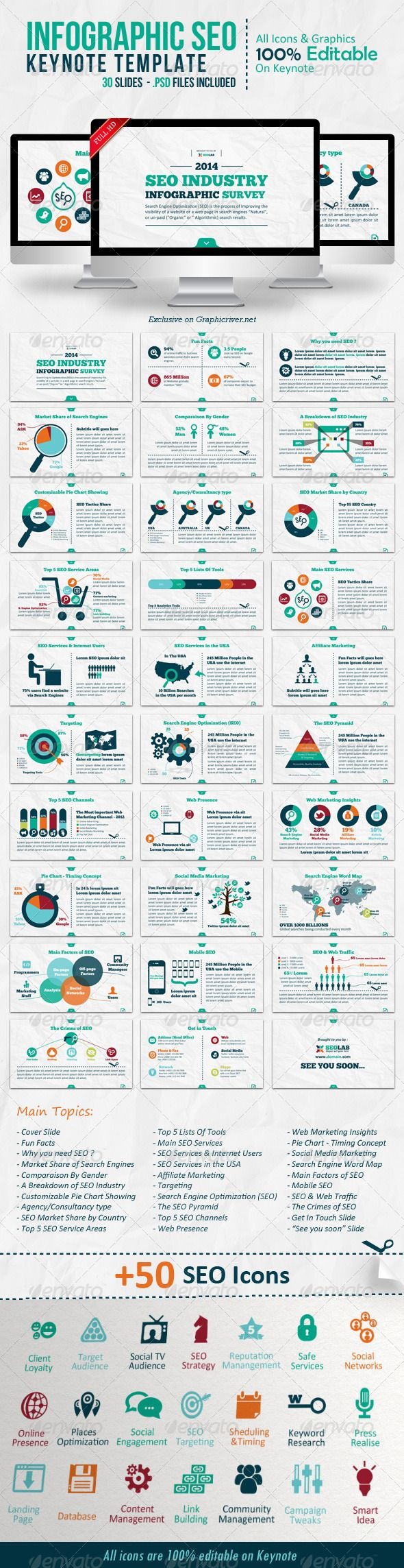 Infographic SEO Keynote Template | Keynote theme / template