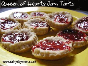 Queen of Hearts Jam Tarts made with shortcrust pastry and strawberry Jam