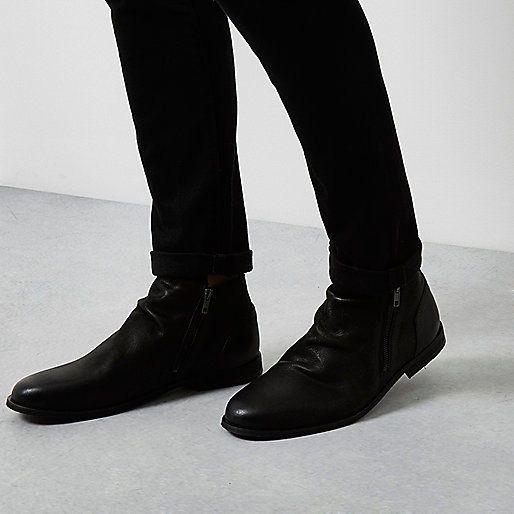 black river island leather side zip chelsea boots for men uk size 8. Black Bedroom Furniture Sets. Home Design Ideas