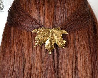 Barrette Arkki elven pagan maple bronze leaf hair accessoire North Shaman