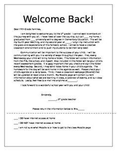 welcome letter to parents from english teacher - Google Search