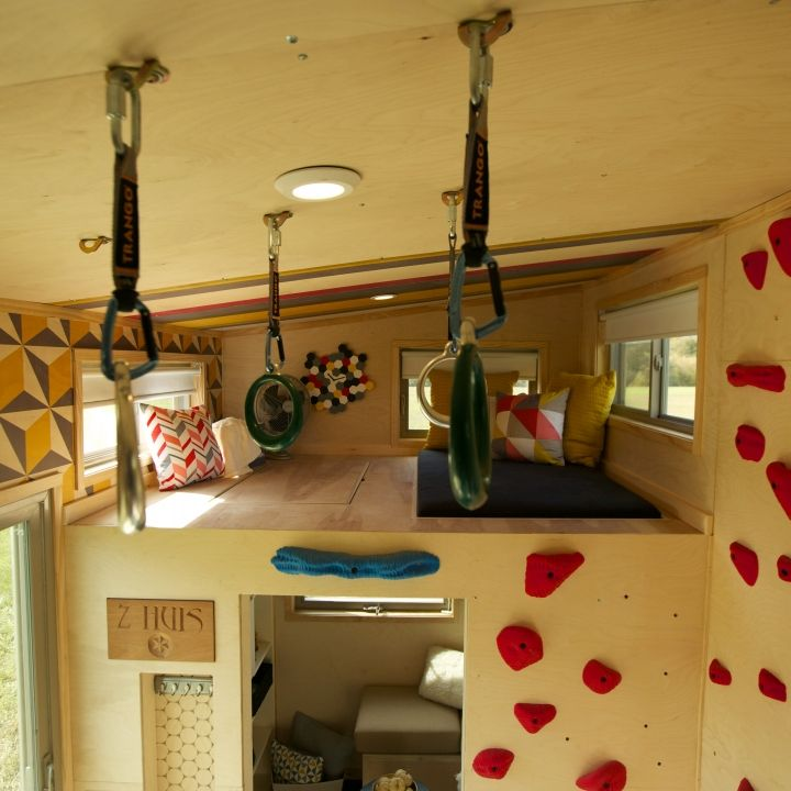 Beautiful Tiny House Climbing Wall And Rings.