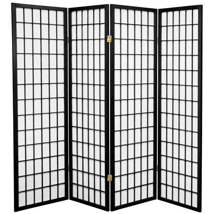 Nice Oriental Furniture Window Pane 4 Panel Black Paper Folding Indoor Privacy  Screen