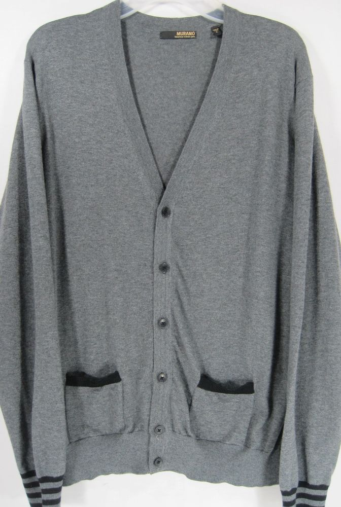 Murano Men Cardigan Sweater Size L Gray 100% Merino Wool.  HHH 57 #Murano #Cardigan