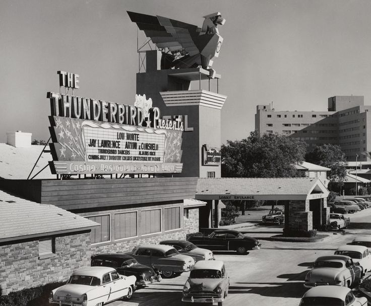 The Thunderbird, with its striking deco Indian thunderbird sign, opened with Nat King Cole headlining on September 2, 1948. The resort, seen here in 1955,was the brainchild of Nevada Lt. Gov Cliff Jones and developer/contractor Marion Hicks. Hicks, who also built the El Cortez in downtown Las Vegas, designed the Thunderbird as the first hotel/casino on the Strip to feature a porte-cochere. It was also the only Strip resort to house a bowling alley.