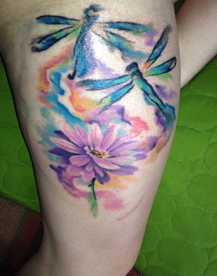 Watercolor Daisy Tattoo: My Watercolor Dragonflies With A Daisy!!
