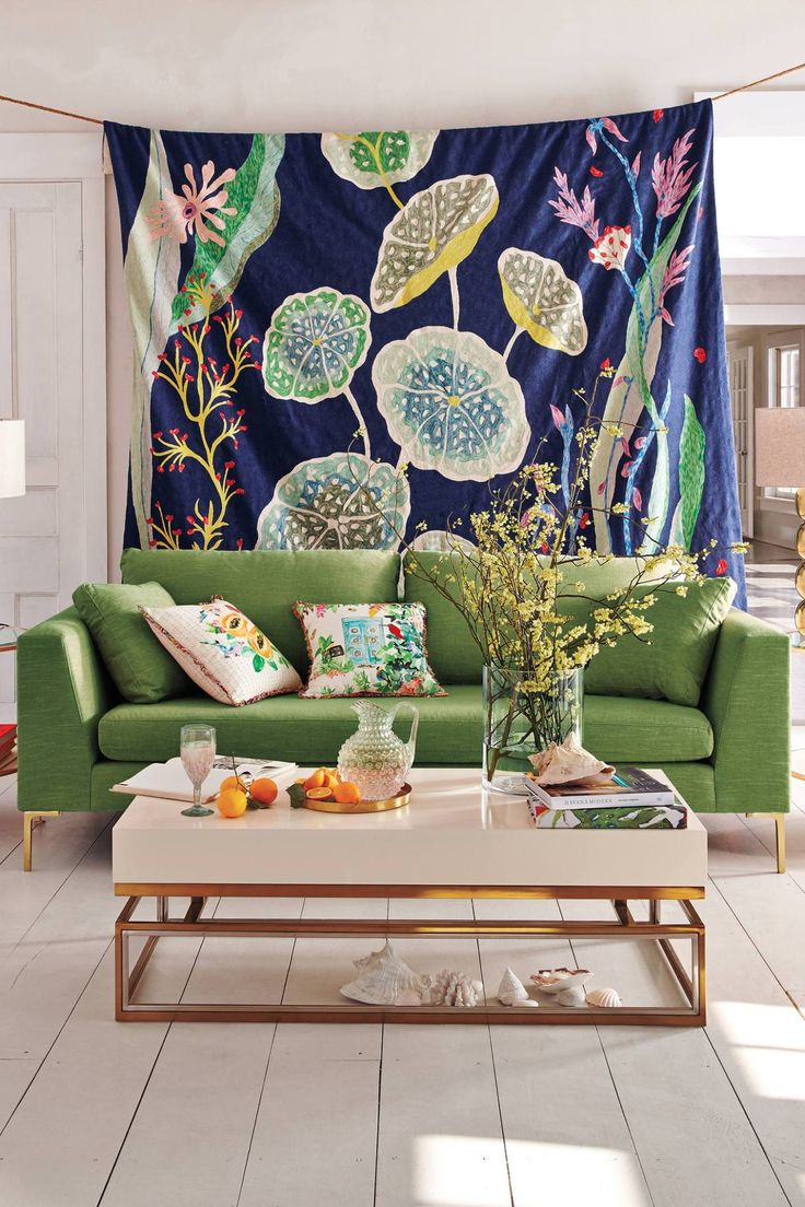 Contemporary design living room blue sofa twipik - Anthropologie S New Arrivals Spring Inspired Decor