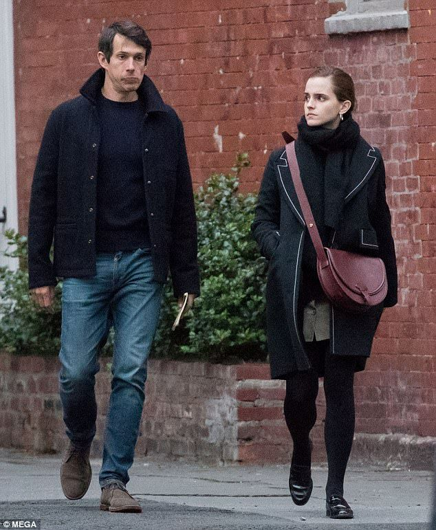 Going strong: The British Harry Potter star, 27, and American tech boss, 37, made a rare appearance as they headed to dinner in the trendy East Village