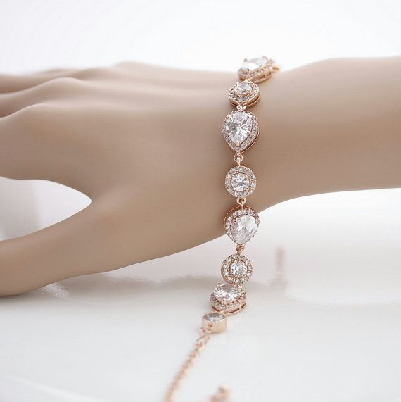 Rose Gold Bridal Bracelet Wedding Jewelry Wedding by poetryjewelry