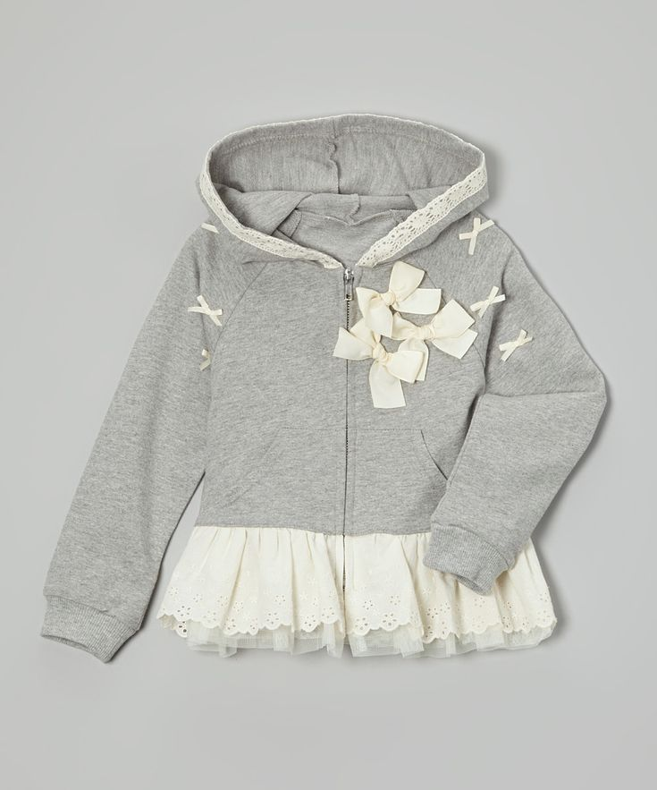 Gray Bow Skirted Hoodie//