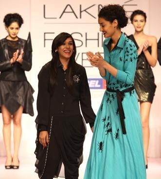 """Rimi's 'Insect in My Closet' sparkles at Lakmé catwalk - Inspired by the insects of the world, Rimi Nayak's quaintly titled collection """"Insect in My Closet"""" was a fashionable stylish study of construction at Lakmé Fashion Week Summer/Resort 2012."""