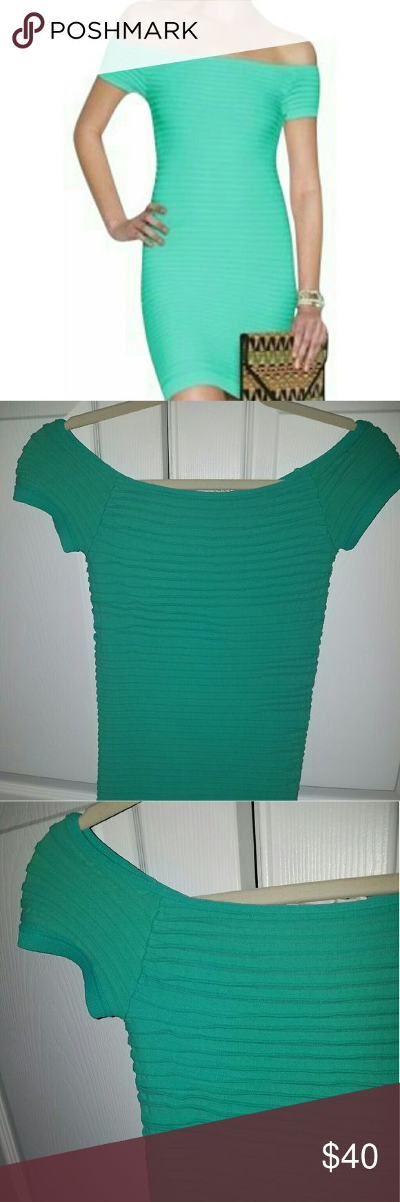 Aqua green ruffled ribbed bodycon dress Aqua green fitted bodycon dress, very flattering and perfect for a night out! Worn once, in great condition. No signs of wear BCBGeneration Dresses Mini