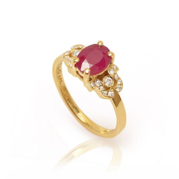 Anel Formatura - Ouro, Rubi, Diamantes