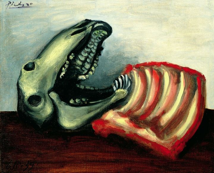 Picasso Still Life with Sheep's Skull 1939 Oil on canvas 50.2 x 61 cm Collection of Vicky and Marcos Micha Picasso © Estate of Pablo Picasso (ARS) NY