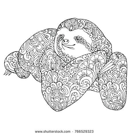 Zentangle Doodle Patterned Sloth Design Black On White Detailed