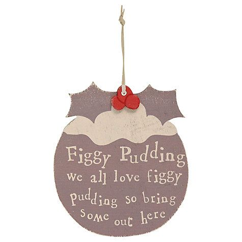 Buy East of India Figgy Pudding Christmas Decoration, Grey Online at johnlewis.com