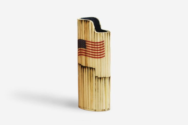 Handmade BIC Lighter Case by Burned Match Sticks - America Flag The handmade case for BIC lighter is made by burned match sticks.  The burned match sticks are glued one by one then they are smoothed, painted and polished.