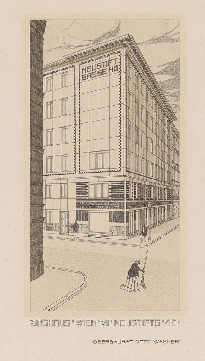 Otto Wagner, dibujo en perspectiva del apartamento y edificio perspective drawing of the apartment building at Neustiftgasse 40, Vienna, 1909. Image © Wien Museum.