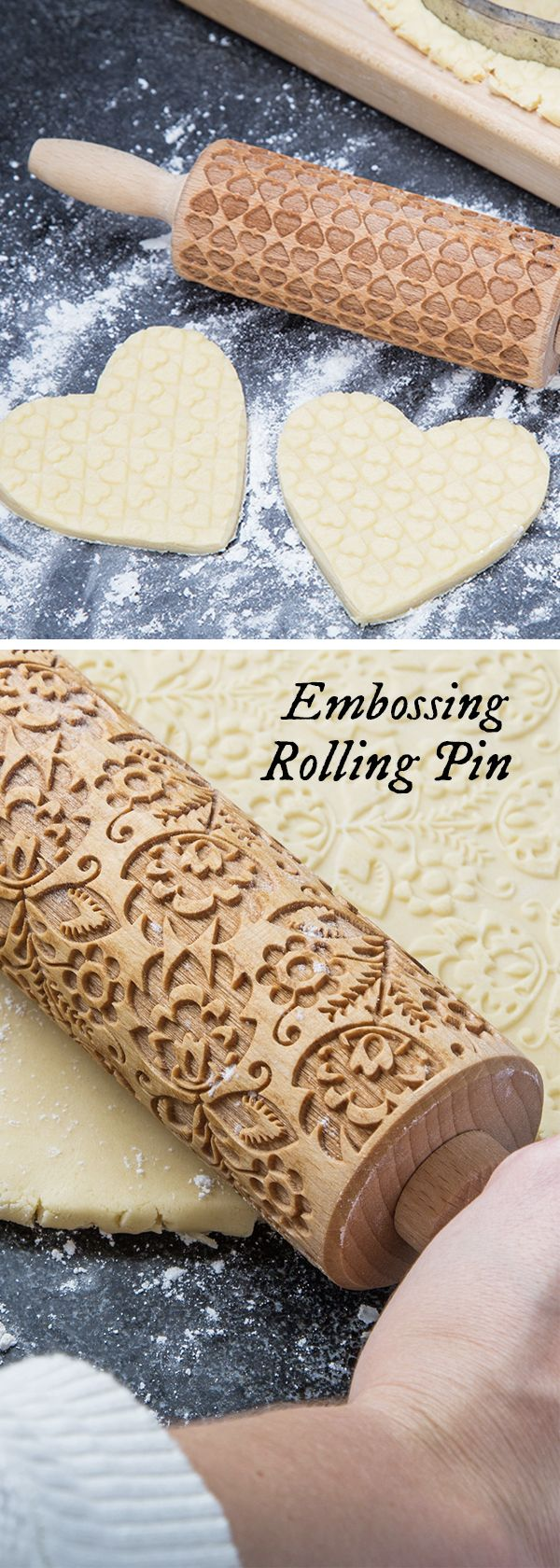Baked goods with a professional touch. Roll these laser-cut, beech wood rolling pins over fresh dough. Their patterned grooves emboss baked goods, giving an ornate, professional-looking finish.
