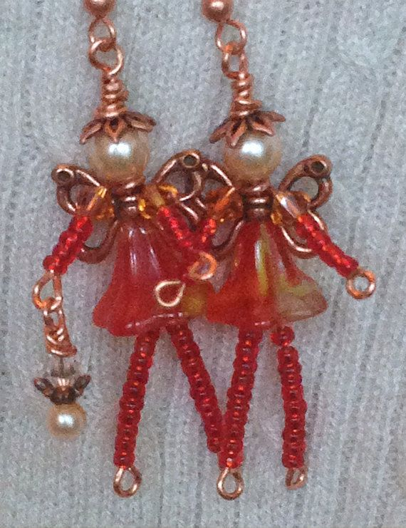 Orange Whimsical Garden FAIRY Faerie Beaded Pixie Earrings: Genuine Swarovski Pearl, Copper Plated Pewter, Faceted Crystal, Czech Glass OOAK