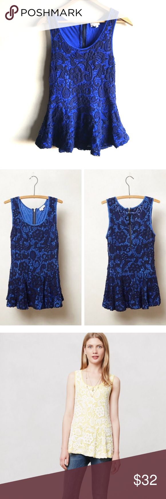 Anthropologie Meadow Rue Emilia Blue Peplum Top Anthropologie Meadow Rue Emilia blue crochet peplum top.  Features darker blue crochet over lighter blue lining.  Zips in back.  So cute!  Perfect over a pencil skirt or skinny jeans.  In excellent condition. Anthropologie Tops