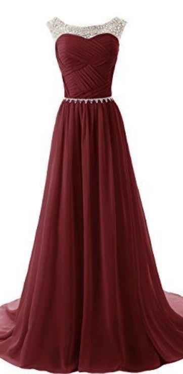 Custom Made A Line Round Neckline Maroon Long Prom Dresses 2015 Long Formal Dresses