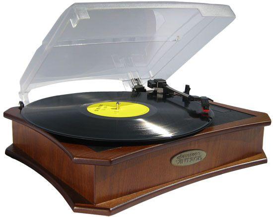 Retro Style Vinyl Turntable With USB-To-PC Recording (Maple)