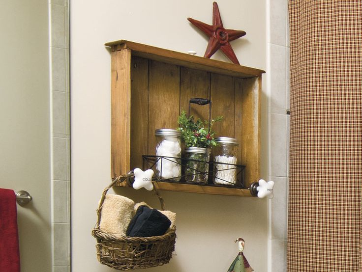 Mount A Small Drawer As A Shelf On The Bathroom Wall; Install Faucet Style