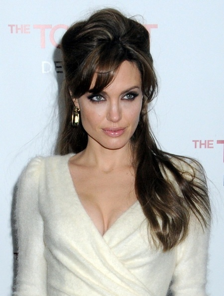 Angelina Jolie Hairstyles, Half Updo, Hair Extensions I love her hair here