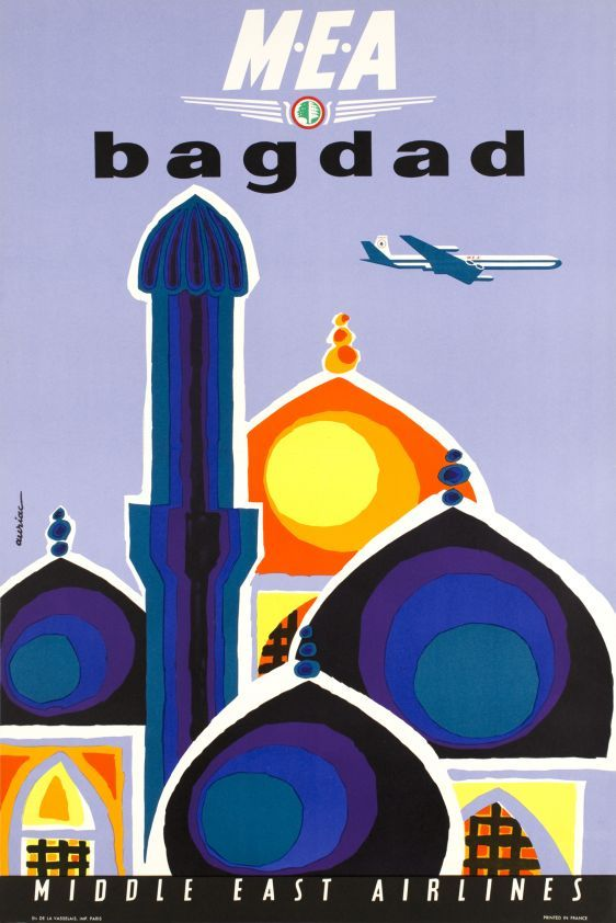 MEA, Middle East Airlines, Bagdad - Vintage Posters - Galerie 123 - The place to find vintage art Jacques Auriac