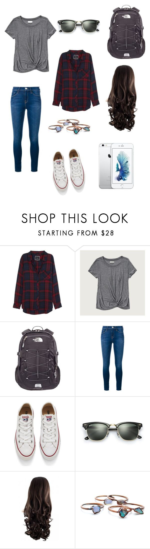 """""""Outfit Inspired By Bella Swan"""" by linsditlow ❤ liked on Polyvore featuring Rails, Abercrombie & Fitch, The North Face, Frame Denim, Converse, Ray-Ban and Child Of Wild"""