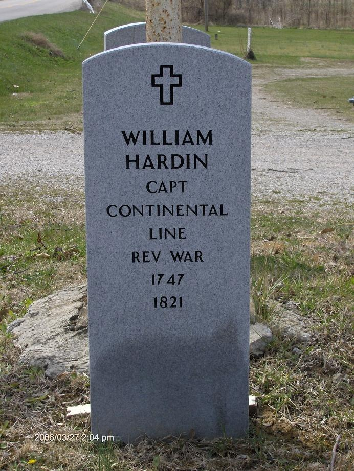 "Captain William ""Indian Bill"" Hardin (1747-1821). Served as a private in the 3rd Virginia Regt of foot, 1778. He served in KY as well as IL. Revolutionary War Veteran, Pioneer, noted Indian fighter and founder of Hardinsburg, KY. According to his military records, he stood 6'4"" and weighed 240 pounds."