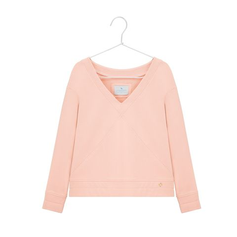 Geometric sweatshirt with quilted trims in peach