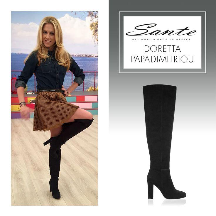 Doretta Papadimitriou in SANTE Boots #BuyWearEnjoy #CelebritiesinSante Shop online: www.santeshoes.com