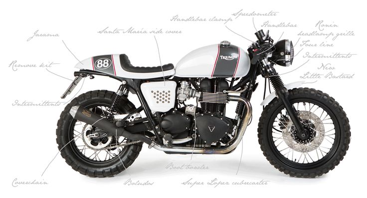 """The Triumph Bonneville motorcycle """"Alfa"""" is a Triumph bonneville custom injection, built with the coffee racer pieces that we manufacture by hand."""