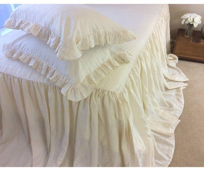 New to CustomLinensHandmade on Etsy: Bedspread Cream linen bedspread cream bedding linen bed cover shabby chic bedding queen bedspread king bedspread (237.00 USD)