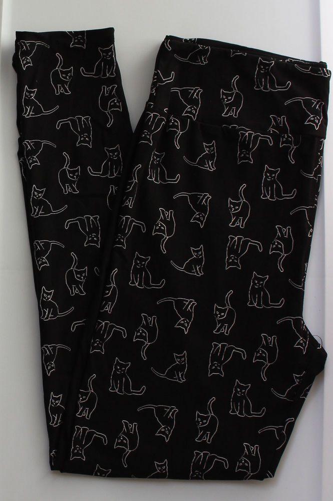 Tc Lularoe Tall Curvy Leggings Black White Outline Cats Kittens Unicorn Nwt 68 Curvy Leggings Black Leggings New Print